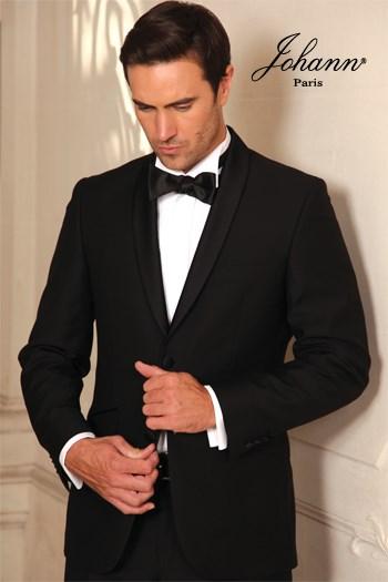 Johann, Smoking en laine extra-fine noir col châle satin noir. En prêt-à-porter ou sur mesure