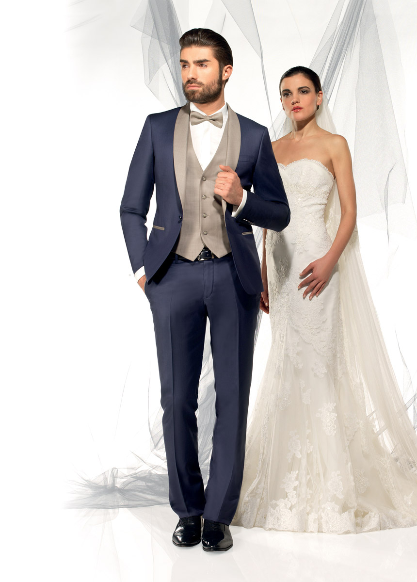 empire du mari collection 2015 modle fosio bleu et taupe 3 pices - Costume Mariage Homme 3 Pieces
